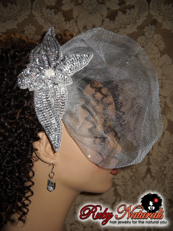 Silver Star Fascinator with Veil