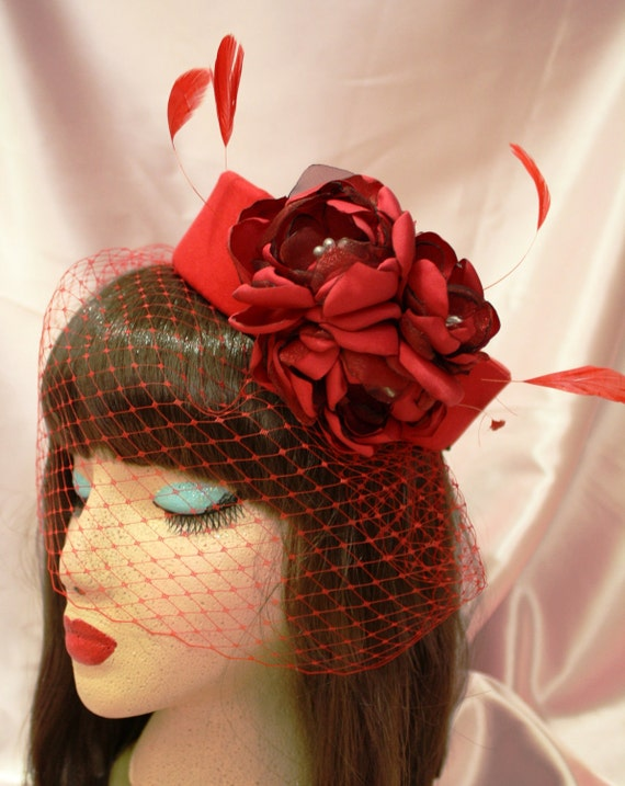 Red Pillbox Hat with Removable Birdcage Netting