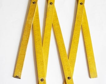 Wooden straight-edge , vintage Russian Soviet ...measure...to measure...yellow line