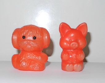 vintage toys...Russian USSR..dog and pig...vintage...small toys from the USSR..recall childhood.
