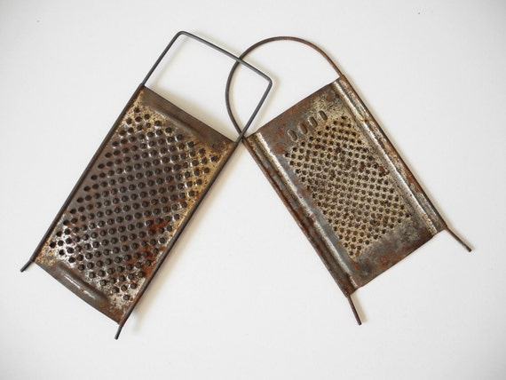 Soviet Vintage metal grater for vegetables and fruits from USSR, steampunk art supplies