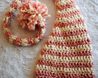 Chunky Crocheted Infant (0-3) Elf Hat with Long Tail - Choose Your Colors - Great for Photo Prop