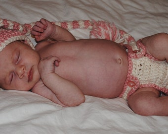 Crocheted Long Tailed Hat, Diaper Cover and Booties Photo Prop for Baby - Size 0-3 - Choose Your Colors