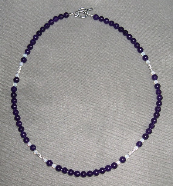 Amethyst Opal and Silver Necklace