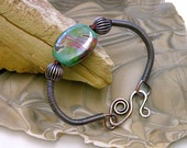 Copper Wire Coil Bracelet with Focal Lampworked Bead