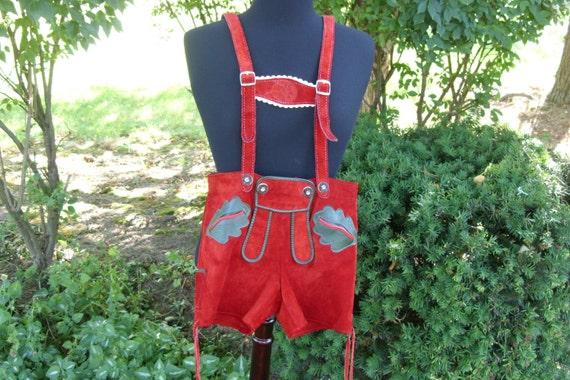 Childs Red Leather Lederhosen