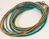 Turquoise and Gold Necklace -- Made from Glass Seed Beads, Multi-Stranded