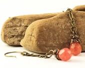 Watermelon Pink Quartz Drop Earrings with Antique Bronze Findings