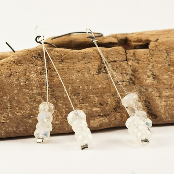 Moonstone Fringe Earrings with Sterling Silver Ear Wires