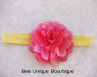 newborn headband, girls headband, pink headband, pink and yellow headband, flower headband
