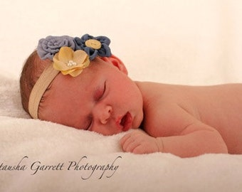 baby girl blue headband..baby girl headband..baby headband..blue headband