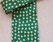 CLEARANCE SALE St. Patrick's day tie, green and white, three leaf clover, shamrocks