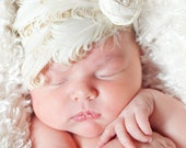 Ivory and Gold Nagorie Feathers Headband with Silk Rosette and Pearls Newborn Photo Prop Baptism Bridal Communion