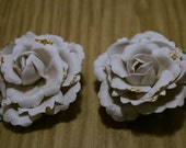 Glitter Tipped Bone White Paper Rose Hair Clips
