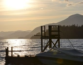 Sunset in BC 8 x 10 inch Fine Art British Columbia Canada father cottage life dock lake mountains water