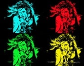 Steven Tyler Pop Art Fine Art Entertainment Print  11 x 14 inches and up black and white Aerosmith concert singer icon idol