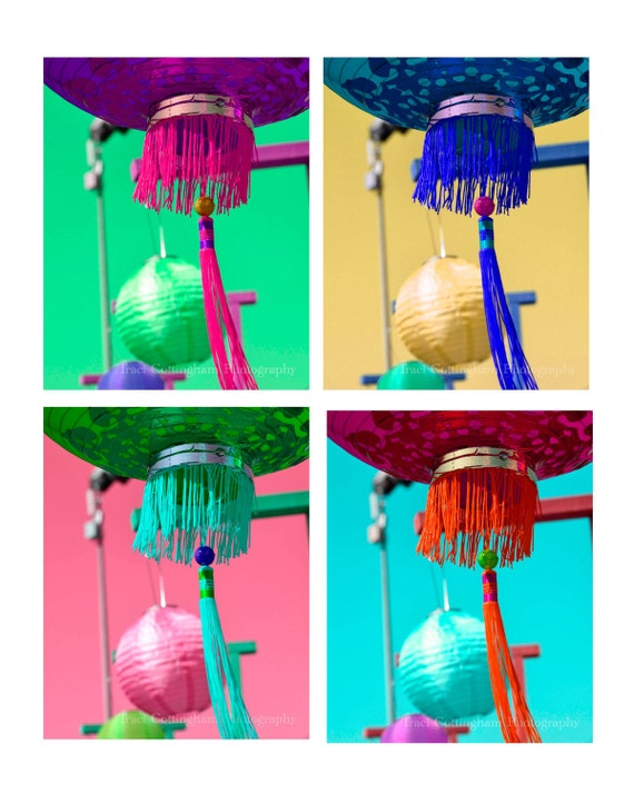 Chinese Lanterns  Set of 4 Fine Art Photos 8 x 10 inch pink blue green red yellow purple home decor bright fresh