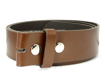 Brown Leather Belt Strap For Belt Buckle, Interchangeable Mens Womens Snap On Belt Strap, Size Small