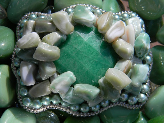 Belt Buckle Pearl and Genuine Green Quartz