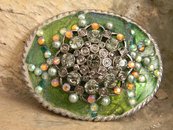 Mosaic Genuine Sea Glass Belt Buckle Green Beach Glass and Rhinstone, Boho Chic Hippie Seaglass Belt Buckle