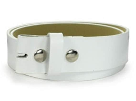 Leather White Belt For Belt Buckle Snap On