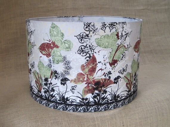 Lamp Shade Drum Lampshade Pendant Flower Floral Asian Inspired - READY TO SHIP