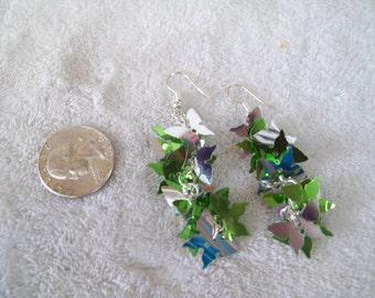 Vtg RETRO Pierced Earrings -Sequin Butterflies -R460