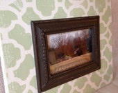 Distressed wood picture frame moroccan 4x6 Green, Cream and Chocolate Brown