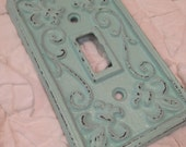 single light switch cover plate fleur de lis shabby chic robin's egg blue