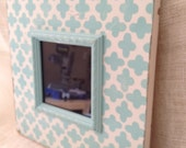 Aqua and cream distressed wood picture frame 5x5 modern shabby chic