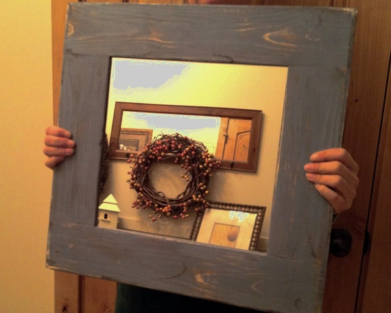 Light Blue Distressed Framed Mirror