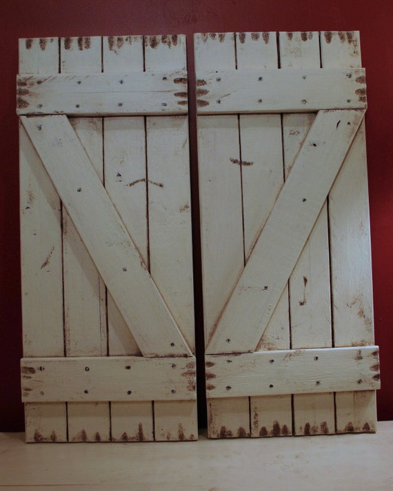"2 Antiqued White Shutters 10"" x 23"" (20"" wide combined)"
