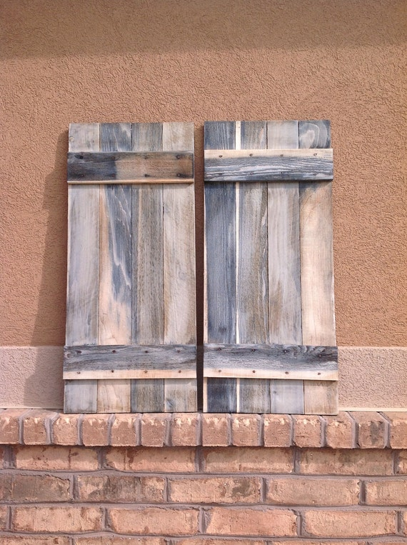 "2 Barnwood Whitewashed Shutters 14"" x 32"" (each)"