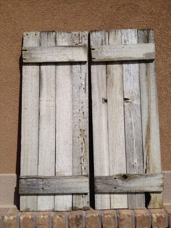 2 reclaimed barnwood shutters 14 x 37 whitewashed for Barnwood shutters