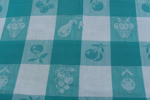 Vintage Tablecloth Blue White Check Homestyle