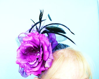 Purple Kentucky Derby/ Mother of the Bride/Fascinator Hat  and Hat Box