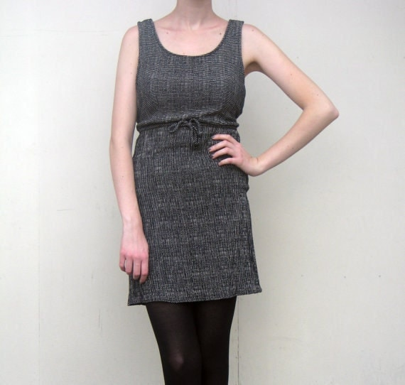 MAE.VALENTE Vintage Black and Gray Striped Dress S A L E