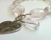 Rose Quartz Necklace. Soft Pink. Heart metal charm. Unique. Gift.