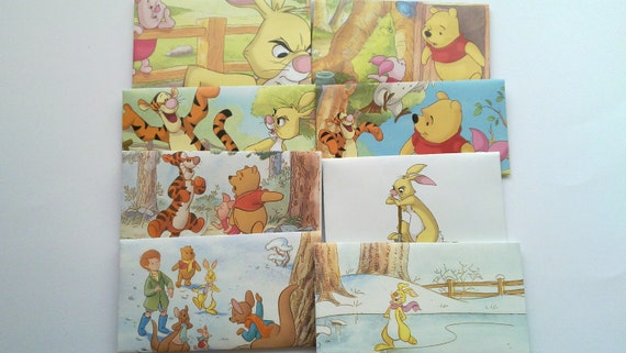 Set of 8 recycled envelopes from Winnie the Pooh book. Tigger. Rabbit. Unique envelopes.