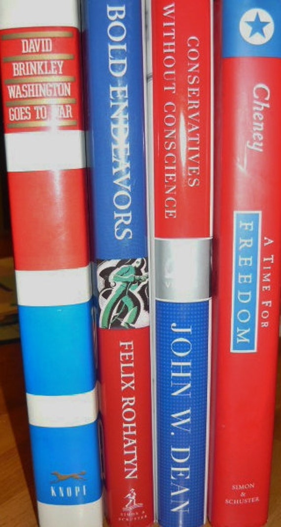 4 Summer Reading All American Red White and Blue Political Bundle of Books  (Selected For Treasury)