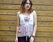 Pretty Remade Vintage Floral and Lace Halter Top
