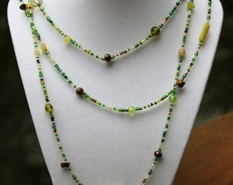 Jade and Tigers Eye Triple Strand Beaded Necklace with Sterling Silver Bar and Hoop Closure