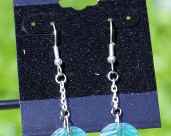 Green Leaf Earrings -  Nickel Free Hoops