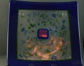 Blue bordered square plate with dichroic celtic knot  50% off Clearance Sale