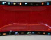 Ruby Red Rectangular Platter with Black Border and Dichroic Accents  50% off Clearance Sale