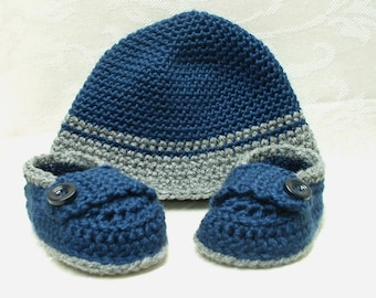 Blue and Gray Baby Boy Hat and Loafer Set