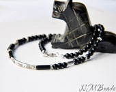 Black Onyx Men's Necklace With Tibetan Silver Beads-Tribal Men's Jewelry-Gemstone Necklace-Man Gift