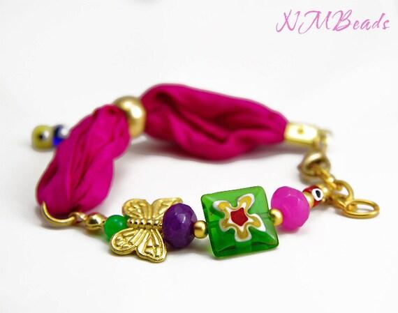 SALE Fuchsia-Green-Pink Girls Bracelet With Butterfly ,Jade Stones,Millefiori Bead - Colorful Children's Jewelry
