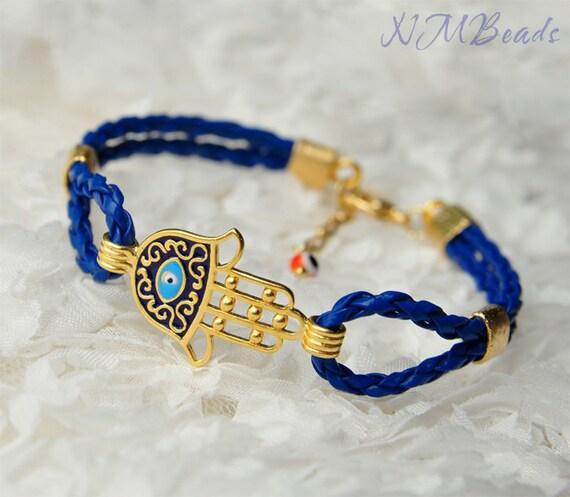 Gold Hamsa Bracelet With Royal Blue Braided Leather Cord, Good Luck Bracelet, Cobalt Blue Jewelry