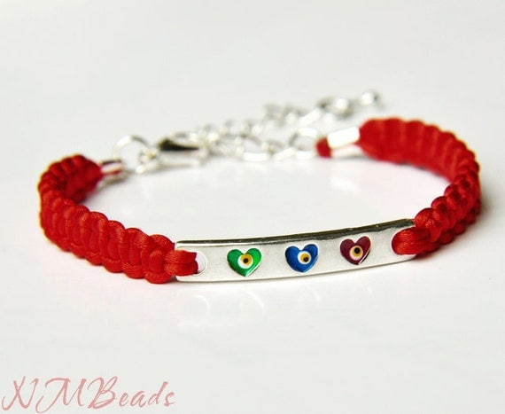Evil Eye Girl's Bracelet With Red Macrame Knot Cord, Adjustable, Sale Jewelry, Gift for Kids